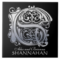 """S Monogram """"Silver Lace on Black"""" with Names Tile"""