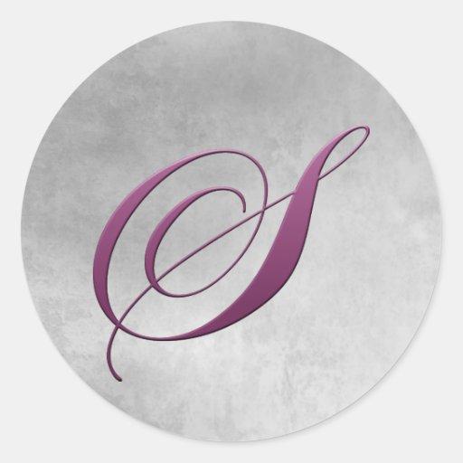 S Monogram Sticker Purple and Grunge