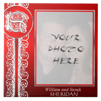 """S Monogram """"White Lace on Red"""" with Photo - Tile"""