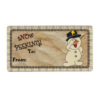 "S""no""w Peeking Snowman Gift Tag Label"