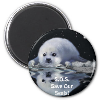 S.O.S. SAVE OUR HARP SEALS 2 INCH ROUND MAGNET