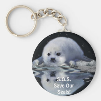 S.O.S. SAVE OUR HARP SEALS KEYCHAIN