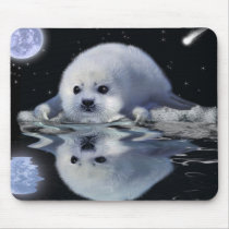 S.O.S. SAVE OUR HARP SEALS MOUSE PAD