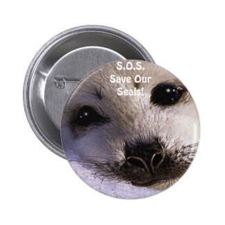 S.O.S. SAVE OUR HARP SEALS PINBACK BUTTON