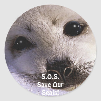 S.O.S. SAVE OUR HARP SEALS CLASSIC ROUND STICKER