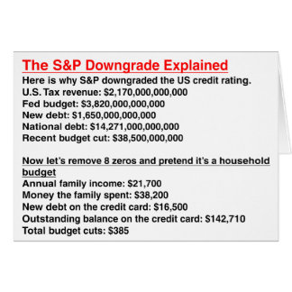 S&P Downgrade Explained Greeting Card