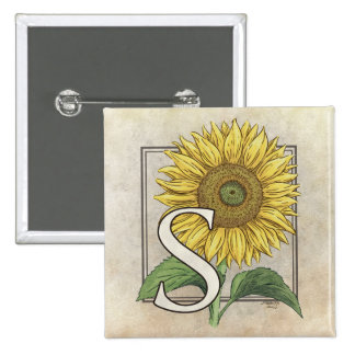 S para el arte del monograma de los girasoles pin