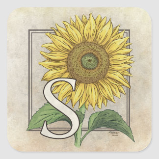 S para el arte del monograma del girasol calcomania cuadrada personalizada