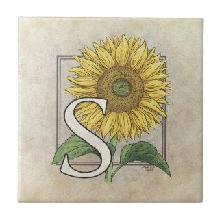 S para el monograma de la flor de los girasoles azulejo cerámica