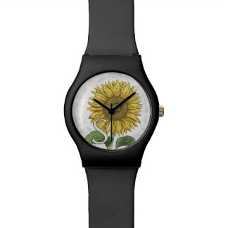 S para el monograma floral del alfabeto del relojes de mano