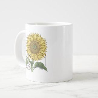 S para el monograma floral del alfabeto del taza grande