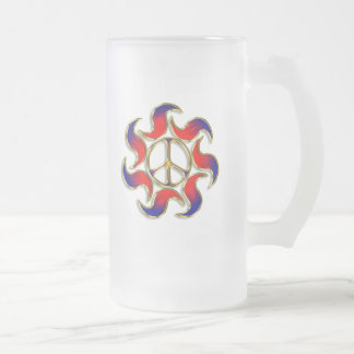 S PATTERN PEACE SIGN FROSTED GLASS BEER MUG