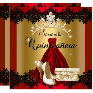S Quinceanera 15th Red Black Gold Diamond Tiara Card