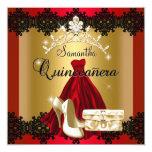 S Quinceanera 15th Red Black Gold Diamond Tiara Custom Invite