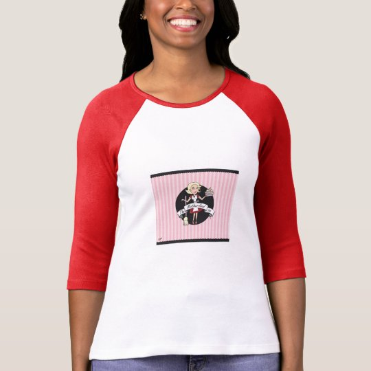 (S) Red Ladies 3/4 Sleeve Raglan (Fitted) T-Shirt