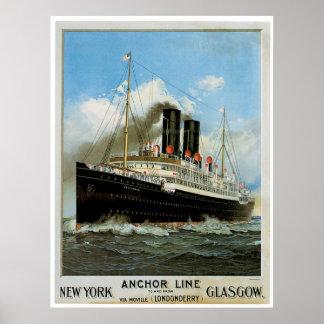 S.S. Anuncio de la nave del vintage de Caledonia Impresiones