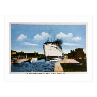 S.S. Assiniboia at Sault Ste. Marie, Ontario, CA Postcard