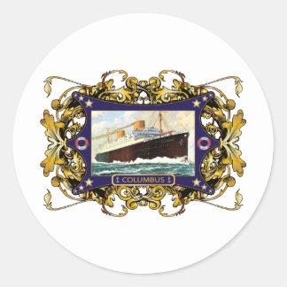 S.S. Buque de pasajeros del buque de vapor del Pegatinas Redondas