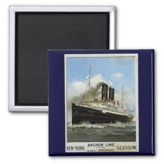 S.S. Caledonia - New York to and from Glasgow 2 Inch Square Magnet