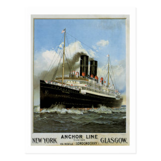 S S Caledonia - New York to and from Glasgow Post Card