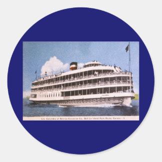 S.S. Columbia of Bob-Lo Excurison Co. Post Card Classic Round Sticker