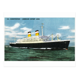 S.S. Constitution American Express Lines Vintage Postcard