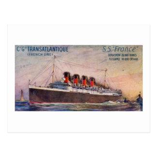 S.S. France Vintage Steamship Postcard