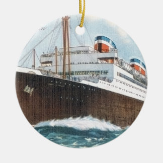 S.S. Manhattan Vintage Ocean Liner Ceramic Ornament