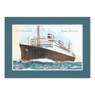 S.S. Manhattan Vintage Ocean Liner 5x7 Paper Invitation Card