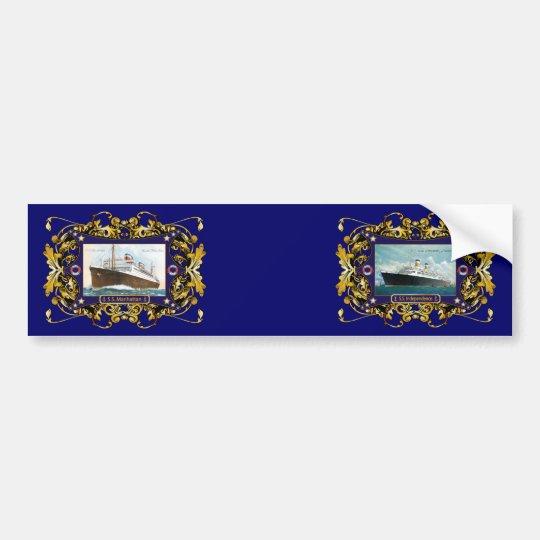 S.S. Manhattan Vintage Steamship Ship Bumper Sticker