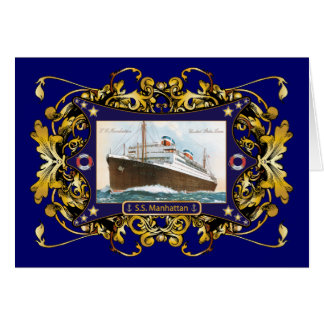 S.S. Manhattan Vintage Steamship Ship Greeting Cards