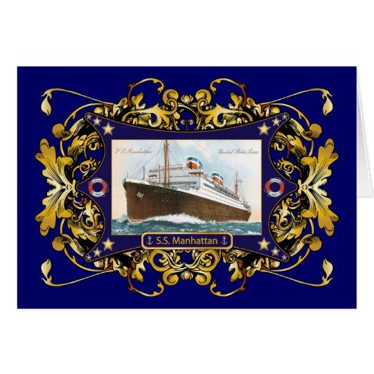 S.S. Manhattan Vintage Steamship Ship Card