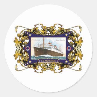 S.S. Nave del buque de vapor del vintage de Etiquetas Redondas