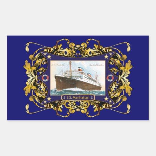S.S. Nave del buque de vapor del vintage de Pegatina Rectangular
