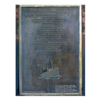 S. S. Northwestern Memorial Plaque Postcard