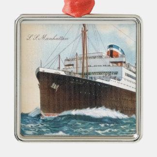 S.S. Revestimiento marino del vintage de Manhattan Adorno Navideño Cuadrado De Metal