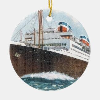 S.S. Revestimiento marino del vintage de Manhattan Adorno Navideño Redondo De Cerámica
