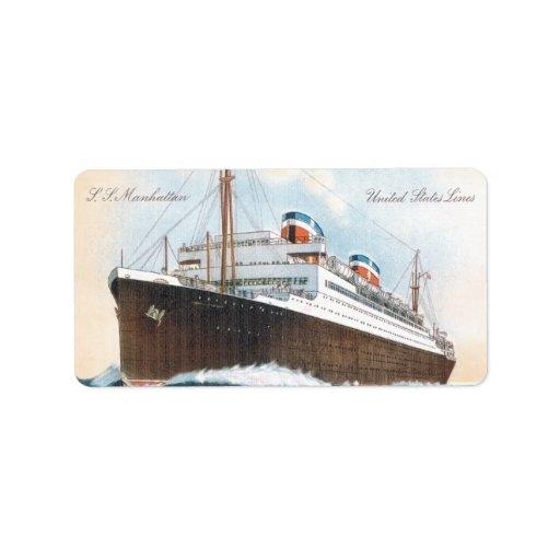S.S. Revestimiento marino del vintage de Manhattan Etiquetas De Dirección