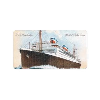 S.S. Revestimiento marino del vintage de Manhattan Etiqueta De Dirección