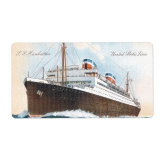 S.S. Revestimiento marino del vintage de Manhattan Etiquetas De Envío