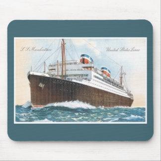 S.S. Revestimiento marino del vintage de Manhattan Mousepad