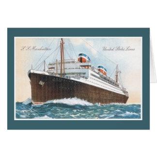S.S. Revestimiento marino del vintage de Manhattan Tarjeta De Felicitación