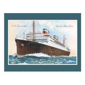 S.S. Revestimiento marino del vintage de Manhattan Tarjeta Postal