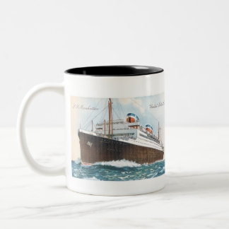 S.S. Revestimiento marino del vintage de Manhattan Taza De Dos Tonos