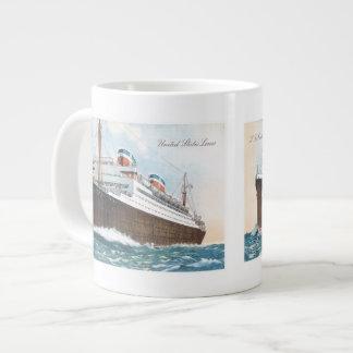 S.S. Revestimiento marino del vintage de Manhattan Taza Grande