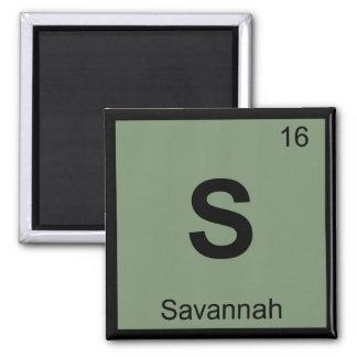 S - Savannah Georgia City Chemistry Periodic Table 2 Inch Square Magnet