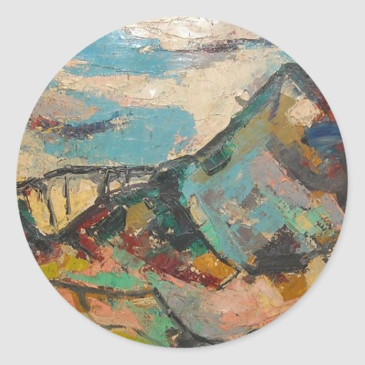 S Shano Color Mountain Classic Round Sticker