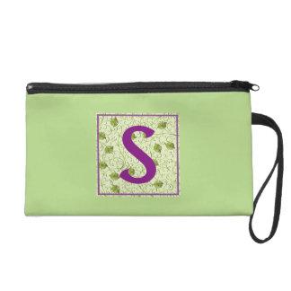 S-Spring Green Floral Wristlet