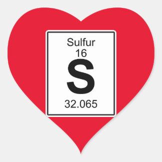 S - Sulfur Heart Sticker