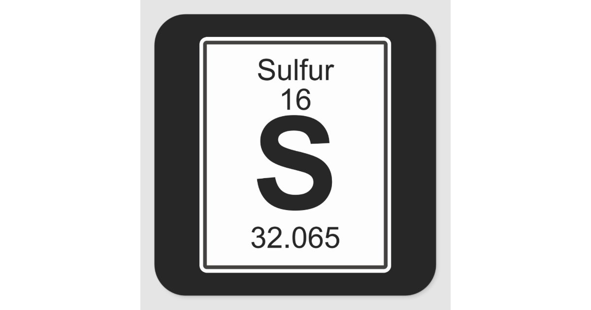 Sulfur periodic table science gifts on zazzle s sulfur square sticker urtaz Image collections